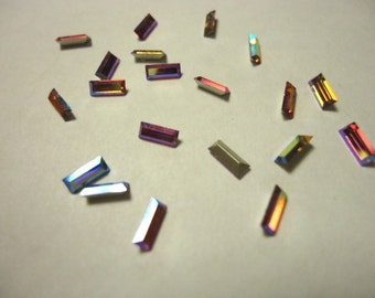 Vintage Glass Pink Aurora Borealis colour Baguette Rectangular foiled rhinestone approx 2mm x 5mm 20 pieces. Article No 109