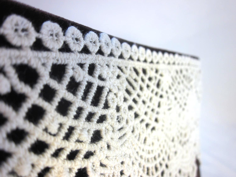 Brown Velvet Clutch Purse With Crochet Lace E10190947032454333m