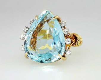 Vintage 1960's 23.24ct t.w. Aquamarine & Diamond Ring 18k