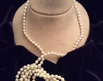 Vintage Long White Faux Pearl Necklace