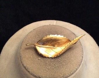Vintage Goldotne Folded Leaf Pin