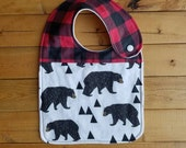 NEW item: Infant Drool Bib- Bears & Buffalo Plaid