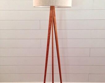Floor Lamp - Tripod - Cherry Wood