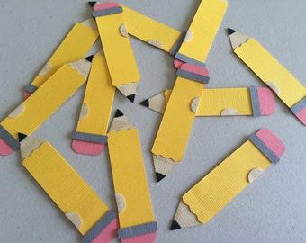 Pencil Paper Pieced Die Cuts Embellishment School Teacher Kids Paper Crafts Scrapbooking