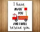 Nursery Firetruck Bible Verse I Have Made You I Will Rescue You Isaiah 46:4 Red Black Modern Art Print Digital 16x20 8x10 11x14