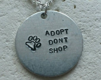 Adopt dont shop animal adoption necklace - Vegan message necklace - vegan jewellery - jewelry - animal rights jewellery - handstamped
