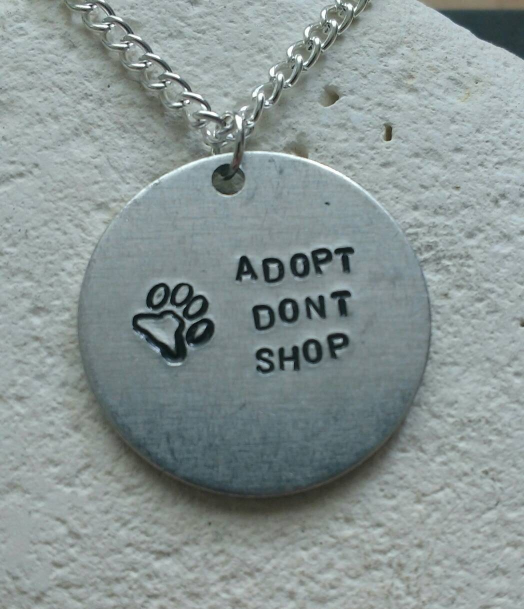 Adopt dont shop animal adoption necklace - Vegan message necklace - vegan jewellery - jewelry - animal rights jewellery - handstamped
