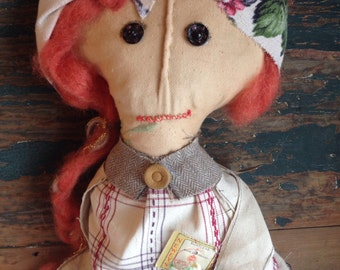 Primitive art doll, Americana Folk art style textile art doll, home decor, display, decoration