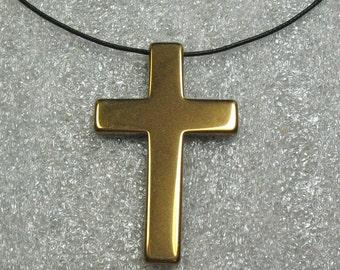 Metal Cross Pendant, Gold Color, 50 mm - Item 72560