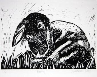 Bunny Rabbit Lino Cut Print, handmade, art, gift