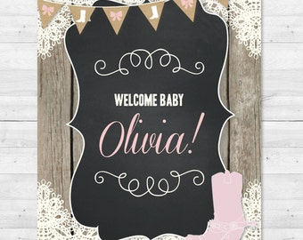Boots & Bows Baby Shower Sign