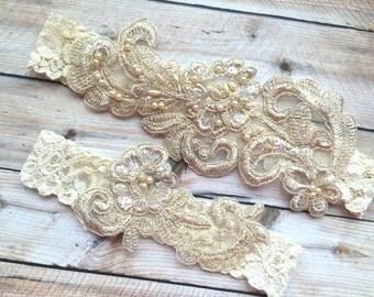 Gold Lace Garter Set, Ivory Lace Bridal Garter, Bridal Garter Set, Bridal Garter, Gold Garters, Lace Garters, Beaded Garters, Pearl Garters