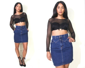 Vintage 80s Dark Blue Jean Denim Pencil Skirt High Waist