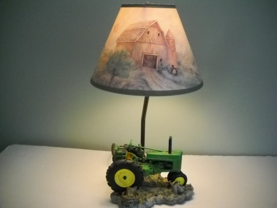 Tractor Lamp Shades : John deere tractor lamp with matching shade