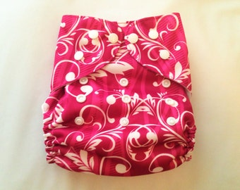 "Cloth Pocket Diaper (One Size) ""Pink with Floral Scrolls"""