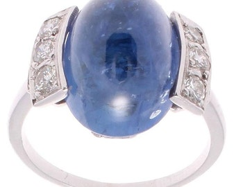 French 17 Carat Sapphire Diamond Platinum Ring