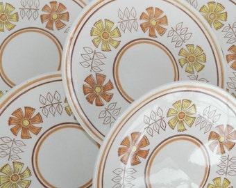 6 Vintage Anchor Hocking Taylor Smith Strawflower Ironstone Dinner Plates 1970's