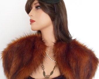 SALE/fox fur bolero, burnt orange fur, fake fur shrug, bronze fur stole, shawl, wrap
