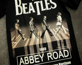 The Beatles Abbey Road 1969 John Lennon George Harrison Paul McCartney Ringo Starr 62 Black Timber Black T-shirt Sz. S,M,L,XL,XXL