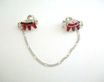 Sweater Clips, Red Sweater Clips, Rhinestone Sweater Clip, Ruby Red Sweater Clips, Sweater Guard, Collar Clip, Cardigan Keeper, Red Wedding