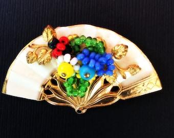 Vintage Spring Fan Brooch