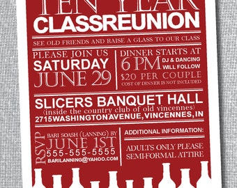 Class Reunion Invitation - Custom School Colors