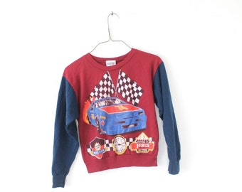 YOUTH 10 Vintage 1980s Racecar Soft and Thin, Very Comfortable Pullover Graphic Sweatshirt