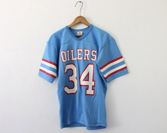 Men's SMALL Vintage 1980s Oilers 34 Official NFL Football Rawlings Short Sleeve Jersey