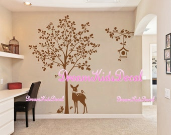 Deer Decal Murals, Tree Wall Decal, Wall Decal, Nursery Wall Decals, Baby Kids Nursery Wall Stickers Wall Art-Tree with bird birdcage-DK201