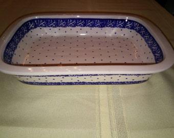 Polish pottery casserole dish