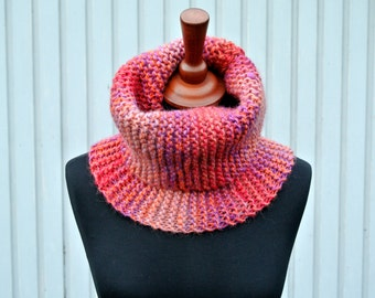 Handmade Multicolored Wool Knitted Scarf