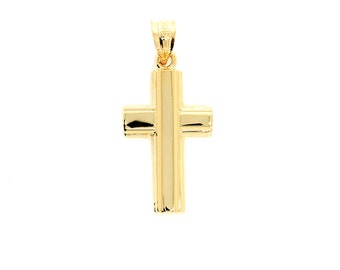 14k solid gold cross pendant. religious pendant.