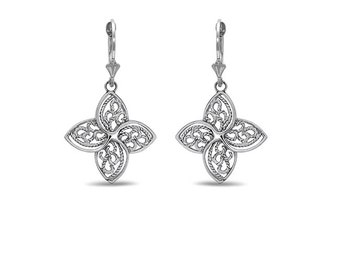 sterling silver filigree 4 leaf earrings with lever backs.
