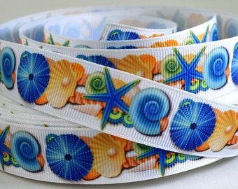 "Seashell Print Grosgrain Ribbon - 7/8"" Grosgrain Ribbon"