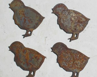 Lot Set of 4 Rusty 3 inch Baby Chick Chicken Shapes Vintage Antique Metal Art Ornament Craft Stencil Sign