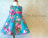 Girls Easter Dress, Toddlers Easter Dress, Turquoise and Pink Floral, Special Occasions, Church, Wedding, Sizes 2T - 6 by 8th Day Studio