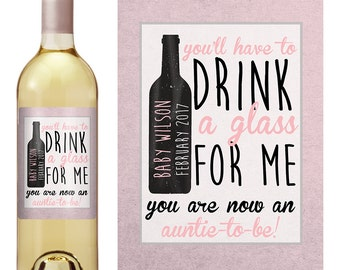 Best Friends Get Promoted - Pregnancy Baby Announcement - Personalized Wine Label - Promoted to Aunt Gift - Custom Wine Labels