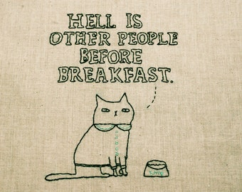 Funny and quirky cat, handmade, handstitched, eco friendly tote bag, artwork by Gemma Correll