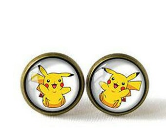 Pokemon Pikachu Brass Stud Earrings