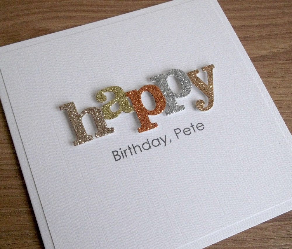 Handmade Birthday Card Personalized Any Age And/or Name