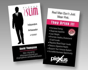 PRINTED Plexus Manbassador 'Real Men Don't Just Wear Pink' Business Card - Glossy UV Coating - Front & Back - 16pt.