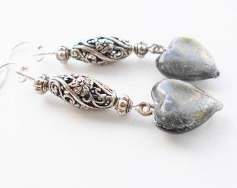 Silver heart earrings custom one of a kind