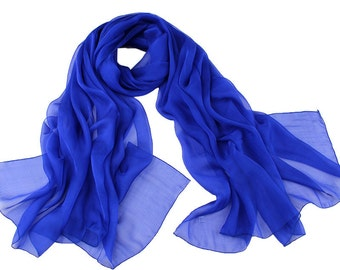 Royal Blue Chiffon Scarf - Royal Blue Scarf - Royal Blue Headpiece - Blue Chiffon Scarf - 30D1