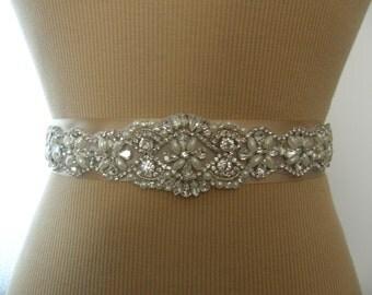 SALE / Wedding Belt, Wedding Sash, Bridal Belt, Bridesmaid Belt, Sash Belt, Wedding Sash, Bridal Sash, Belt, Crystal Rhinestone & Pearl
