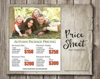 Autumn Fall Photography Package Pricing - Photographer Price List - Marketing - Photoshop Template Photography Packages - INSTANT DOWNLOAD