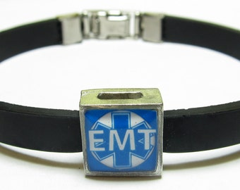 EMT Support Link With Choice Of Colored Band Charm Bracelet