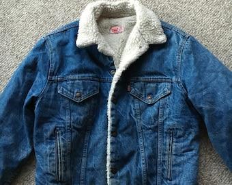 Vintage Levis's LEVIS Denim Sherpa Trucker Jacket Size 42/Levis Work Barn Jacket/Orange Tag 70s 80s/Storm Rider Jacket/Hipster Denim Coat