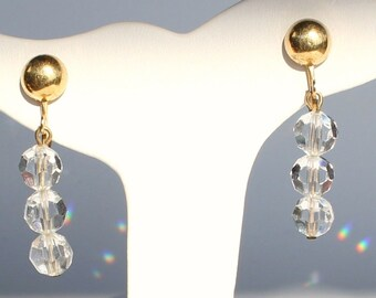 Swarovski Clip Earrings with Clear Crystal Beads New (D)