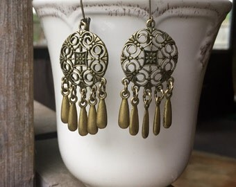 Beautifully Detailed Brass Chandelier Earrings