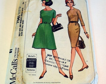 Vintage 1960s McCalls 7541 misses dress one piece half size straight or A line skirt sewing pattern